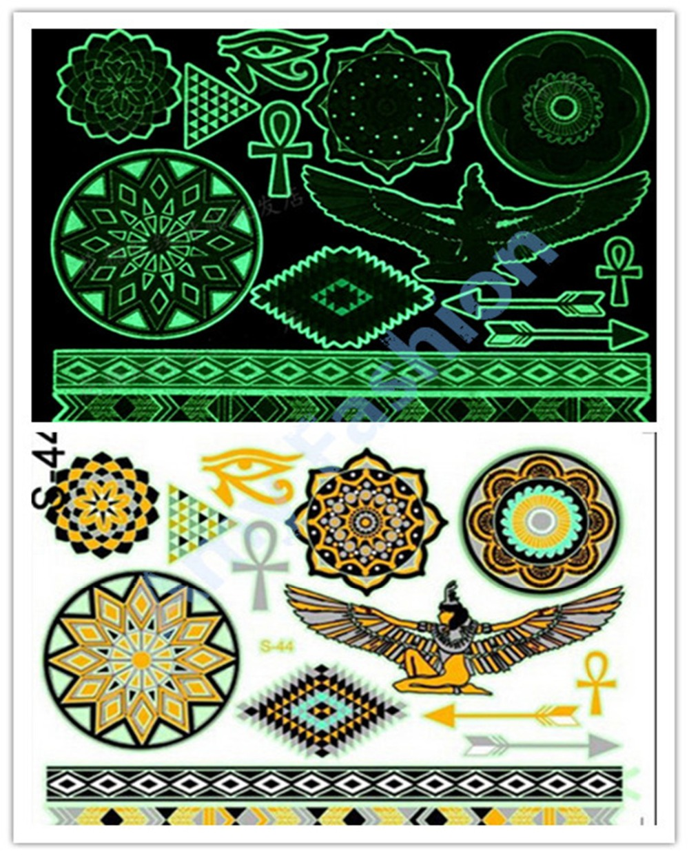 Fluorescent temporary tattoos