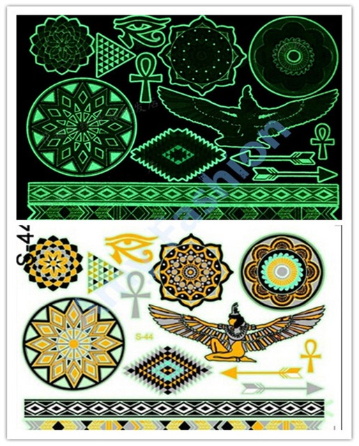 41be85381b9ad New designs Fluorescent temporary tattoos sticker waterproof body art club  party Glow Glitter tatoo ( glow in dark )