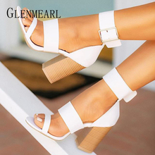 Women Sandals Summer Shoes High Heels Peep Toes Ankle Strap Woman Party Shoes Brand Thick Heel Buckle Sandals Female Beach Shoes цены онлайн