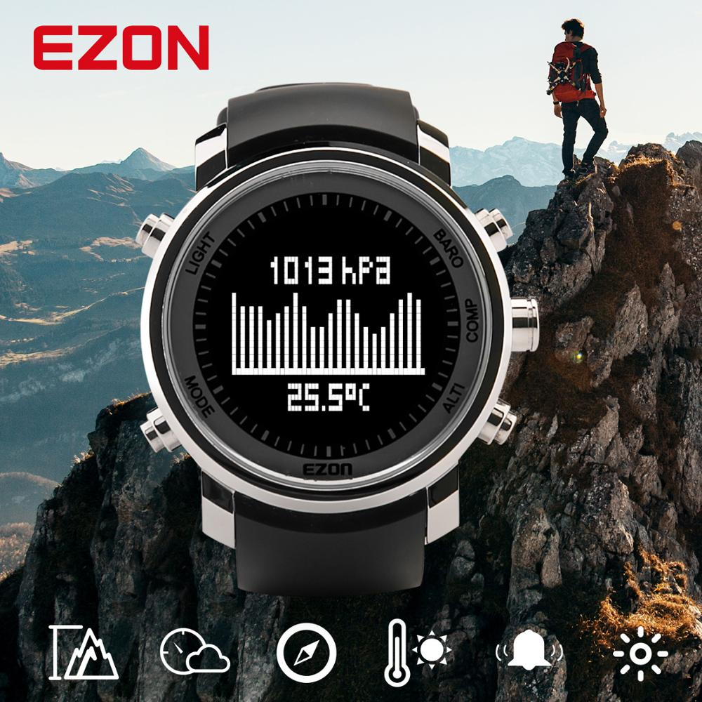 Men's Digital Sport Watch Hours Women With Altitude Barometer Compass and stainless case for Outdoor Hiking EZON H506B01