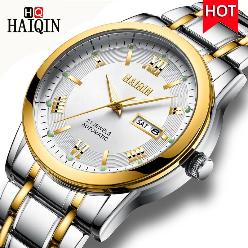 レロジオ Masculino 男性時計 HAIQIN トップブランドの高級自動機械式時計男性フル鉄鋼事業防水スポーツ腕時計  グループ上の 腕時計 からの 機械式時計 の中 1