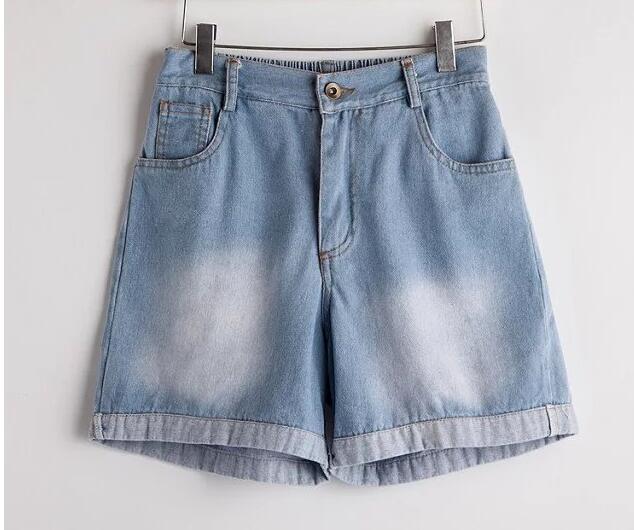 4xl women denim shorts vintage plus size2016summer fashion european  elastic waist  denim short xxxl Lgirls solid  color shorts