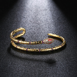 Image 4 - Fashion Jewelry Snake Cuff Bracelets & Bangles Opening Gold Color Bracelets For Women Punk Jewelry ZK40