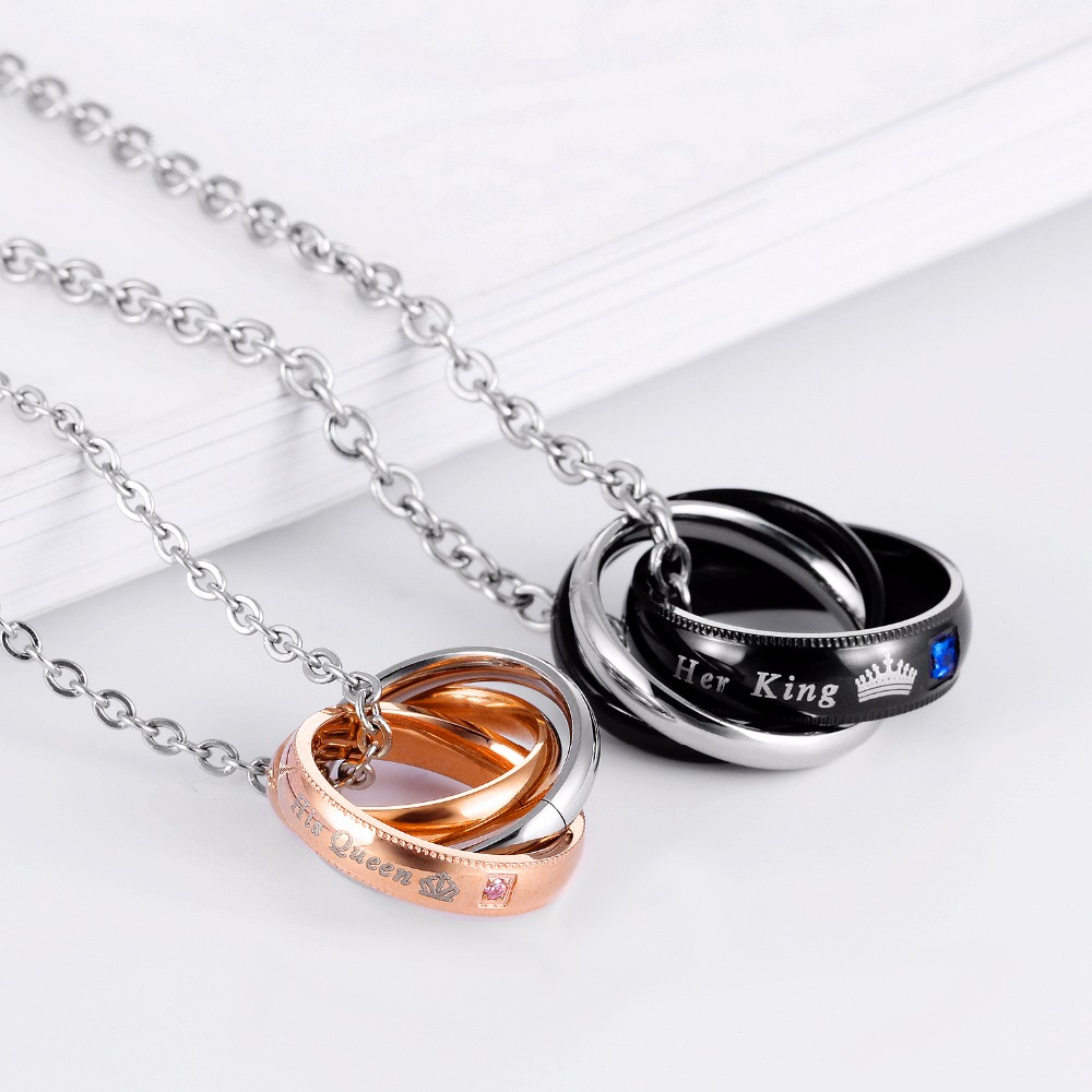 Her King His Queen Necklace Set Personalize Engrave Stainless Steel Ring Pendant Necklace with King & Queen Crown Design