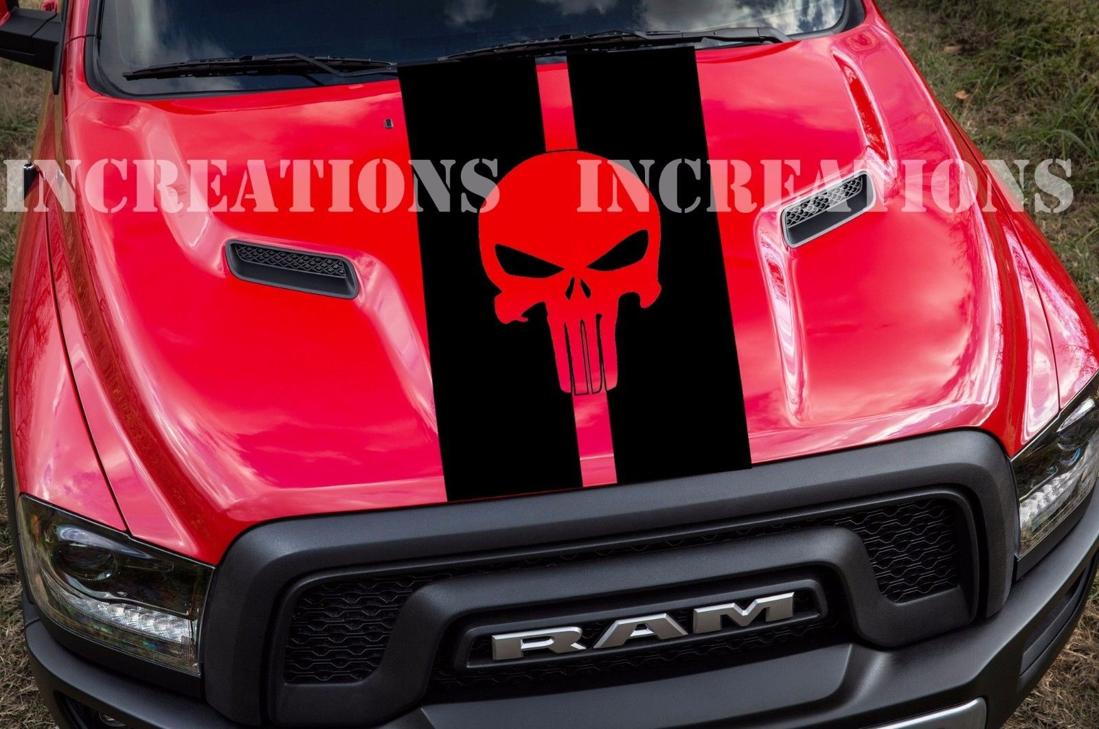 For Universal Punisher Skull Gmc Dodge Hood Chevy Truck Racing Decal Sticker Any Truck