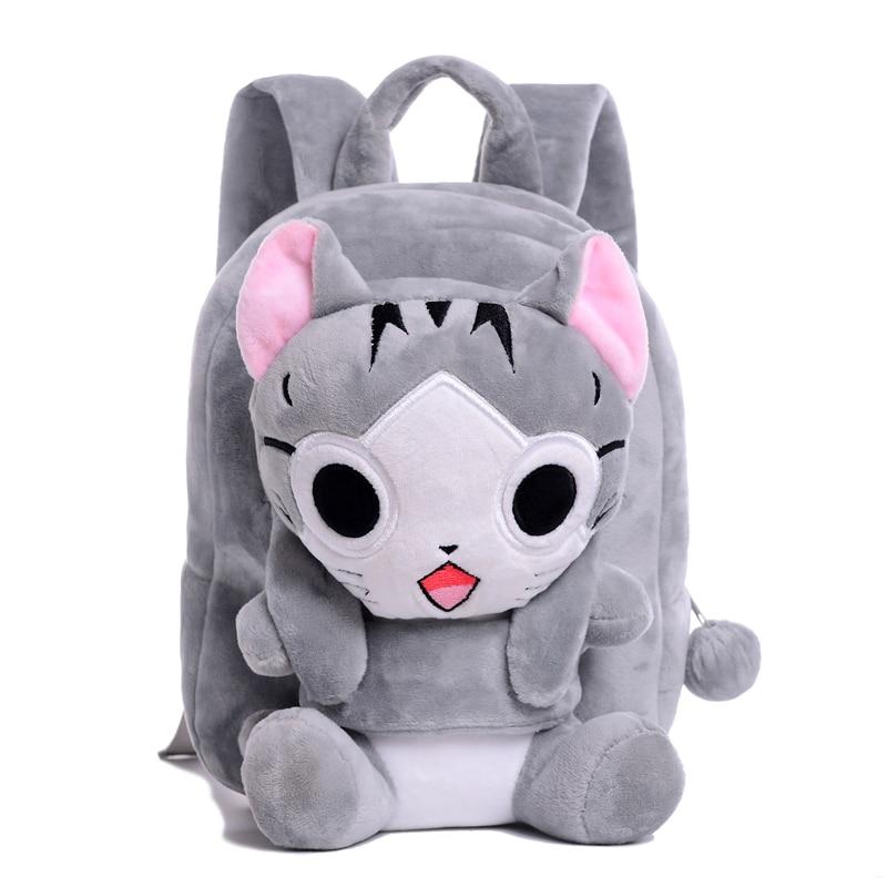 2820790e0bacd 3D أفخم الكرتون أكياس تشي القط على ظهره الأطفال الحقائب المدرسية الحيوان  حقيبة ل 1-