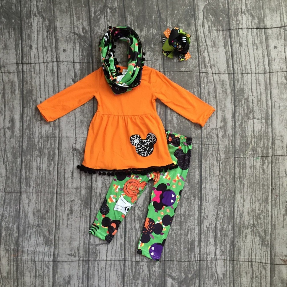 new Halloween FALL/Winter baby girls outfits 3 pieces scarf black orange top mouse corn pom pom pant boutique clothes match bow embroidered tape and pom pom trim halter top