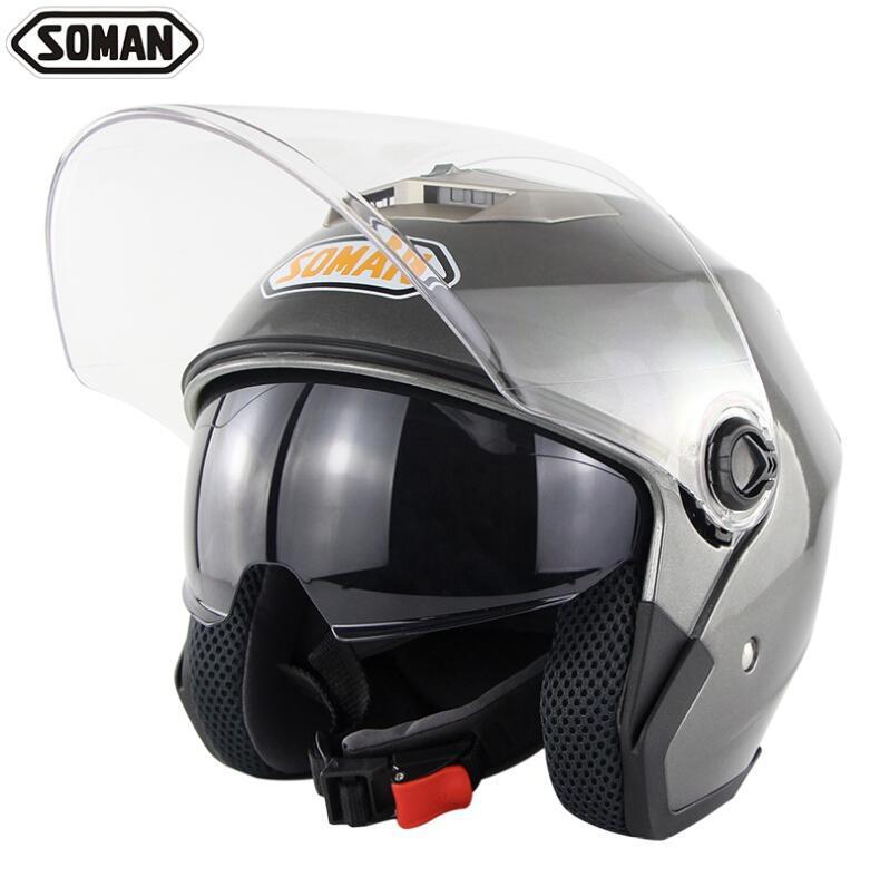 SOMAN 517 мотоцикл электрический автомобиль двойной объектив шлем половина шлем четыре сезона универсальный унисекс - Цвет: 3