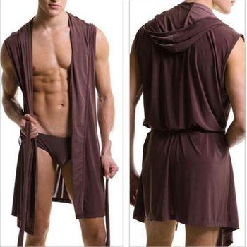 Best Price Summer Dress Bath Robe Men Sexy Pajamas Sleepwear Silk Pijama Hombre Hooded Bathrobe Men Bathing Pyjamas 5 Color XXL
