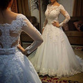 Único Rhinestone Caixilhos Beading A Linha de Vestidos de Casamento Branco Elegante Manga Comprida Apliques de Renda Longo Vestido de Noiva Para Casamentos