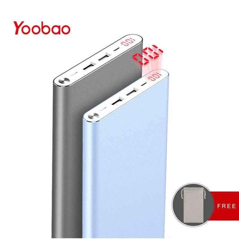 Yoobao A2  повербанк  20000mAh внешний аккумулятор с двойнымм портами выхода/входа литий-полимерный повер банк  14,5мм ультратонкая портативная зарядка с с цифровым индикатором