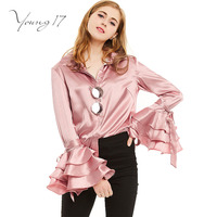 Young17 Spring Fall Women Turn Down Collar Shirts Ladies Satin Casual Top Female Pink Flare Sleeve