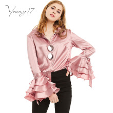 Young17 Spring Fall Women Turn Down Collar Shirts Ladies Satin Casual Top Female Pink Flare Sleeve Fashio Blouses Hidden Button