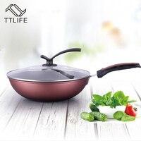 TTLIFEHigh Quality 32cm 34cm Non Stick Layer Pan Deep Wok Frying Pan Flat Bottom Cookware Use