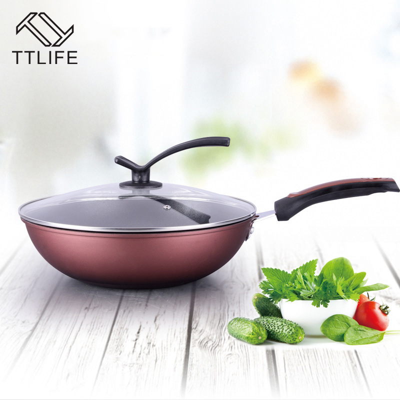 TTLIFE 32CM 34CM Healthy Smokeless Wok Sets Non-Stick Cookware Smoke Kitchen Supplies Cooking Pots Pans Toughened Glass Cover