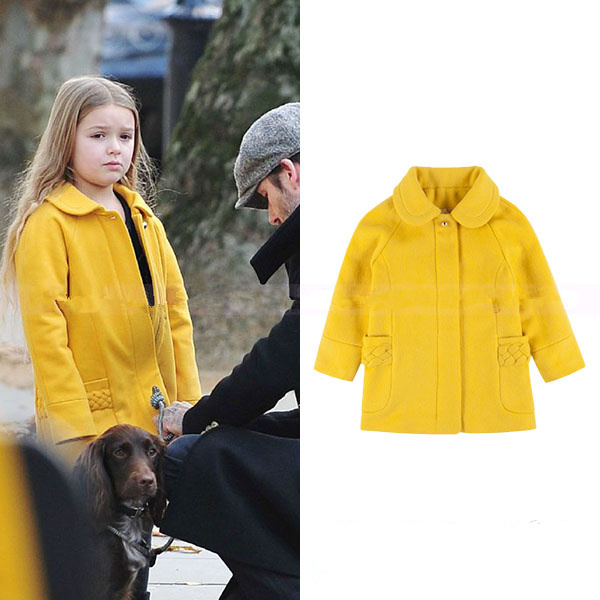 Children's wear small seven the same paragraph new yellow wool hand-knit hinged flower coat jacket серебряное колье ювелирное изделие np321