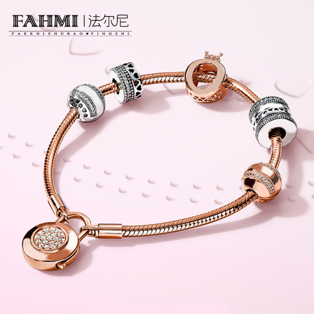 FAHMI 100% 925 Sterling Silver Style Noble Luxury Rose Gold Distinguished Lovers Bracelet Set Original Women Jewelry Gift все цены