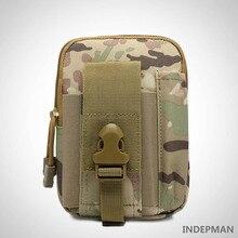 цена на INDEPMAN Outdoor Sports Waist Bag Molle Tactical Cellphone Belt Bags Men Waist Bags Waterproof 1000D Oxford Military Small Packs