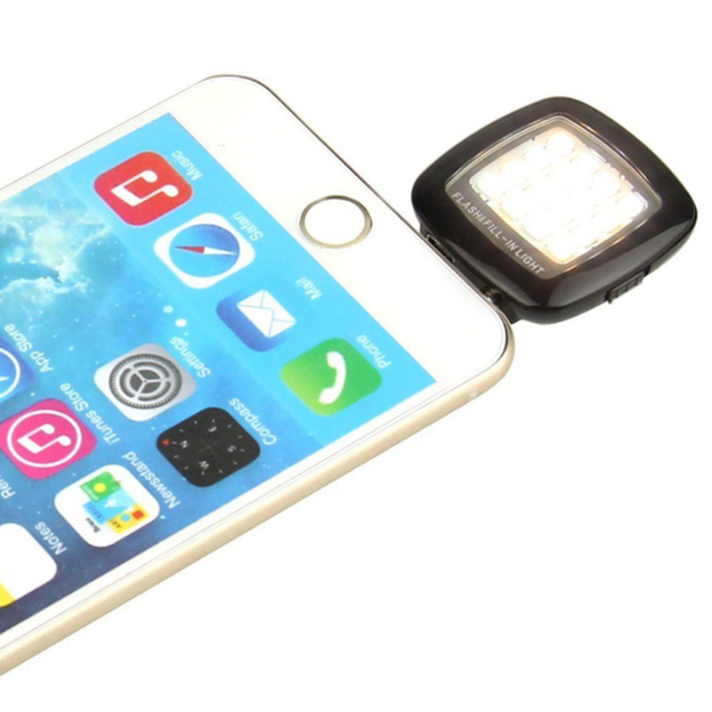 Mini 16 LED Selfie External Flash Fill-in Light Cellphone Camera Pocket Spotlight Photo Lamp Speedlite for IOS Android Phone