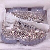 Кроссовки на платформе с кристаллами; Новинка 2019 года; модные теннисные Женские повседневные туфли со стразами; прозрачная обувь со звездам