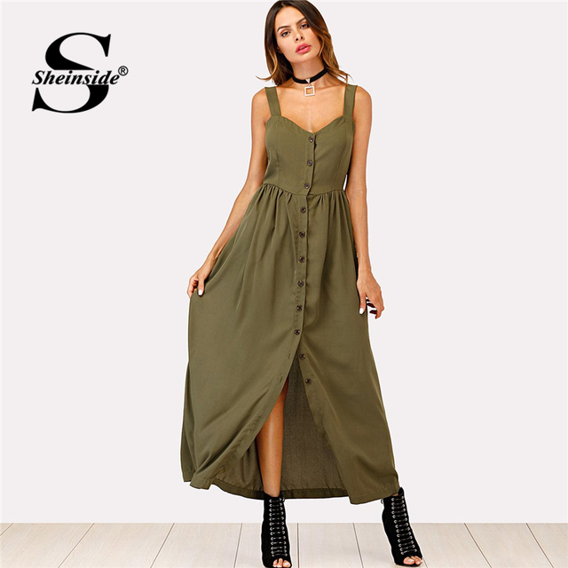 3ad9b1025c5 Sheinside Single Breasted Cami Dress 2018 Summer Sleeveless High Waist Maxi  Dress Women Army Green Pleated Straps Shift Dress