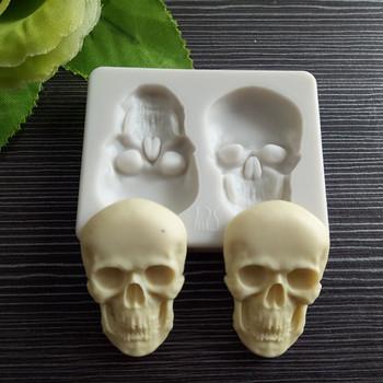 3D głowa szkieletu czaszki silikonowe czekolada DIY foremki na słodycze na przyjęcie do tortu ozdobne foremki ciasto ozdoba do pieczenia narzędzia tanie i dobre opinie EH-LIFE Formy CN (pochodzenie) Ce ue Zaopatrzony Ekologiczne SILICONE BS978680 gray