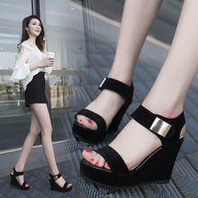 TAOFFEN Summer Lady Party Wedding Hot Sale Sandals Wedges Platform Office Laides Shoes Women Buckle High Heel Size 34-39