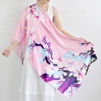 P Silk Flower Vine Digital Printing Imitation Satin Cheongsam Dress Long Scarf Scarf Shawl Is Smooth