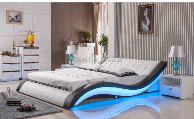C305 Led lumière en cuir souple grand lit king size confortable lit ...