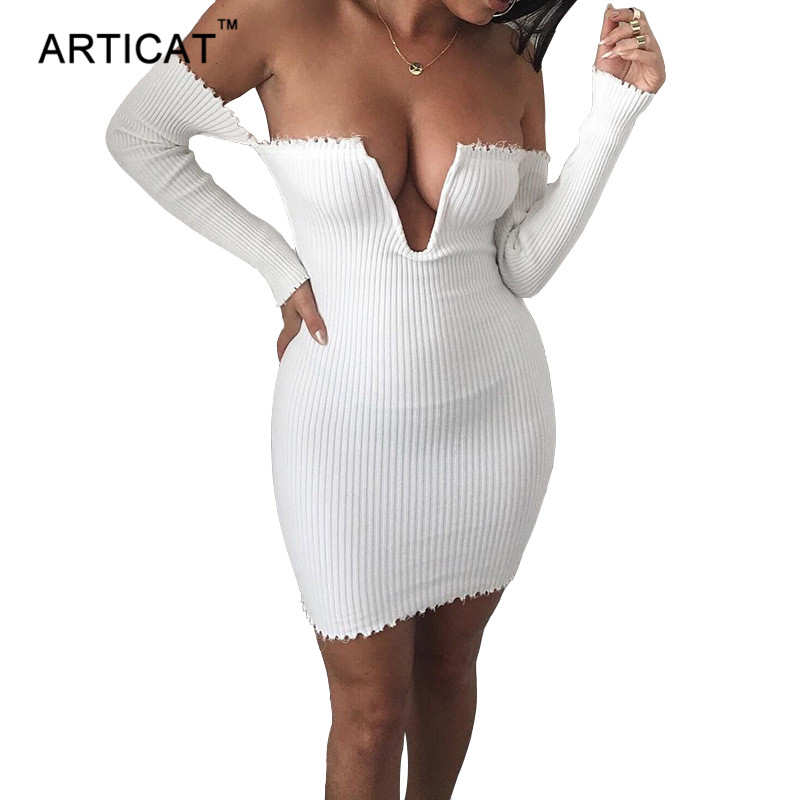Articat Off Shoulder Sexy Kintted Dress Women Autumn Winter Deep V Neck Long Sleeve Bodycon Dress Casual Party Sweaters Dresses