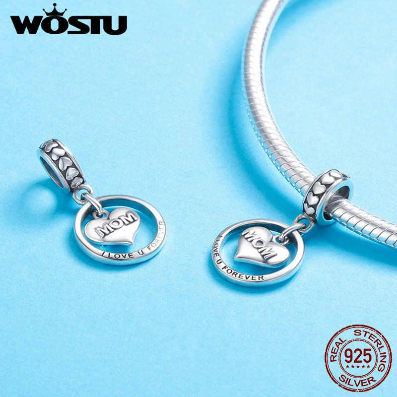 WOSTU, настоящее 925 пробы, серебро, Forever Love для мамы, шарм, подходят браслеты из бусин, серебро, сделай сам, ювелирное изделие, подарок для мамы CQC649