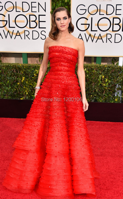 Luxurious Tiers/Beads/Flower Bodice A-line Red Prom Dress 2015 Golden Globe Allison Williams Celebrity Dresses