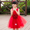 Large Flower Teenage Girls Dresses Summer 2016 Korean Solid Color Cute Girl Evening Dress For Children's Day Dance Performance