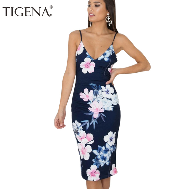 97e6c2a6ecc TIGENA Women Summer Dress 2019 Summer Sundress Sexy Deep V-neck Backless Tunic  Boho Beach