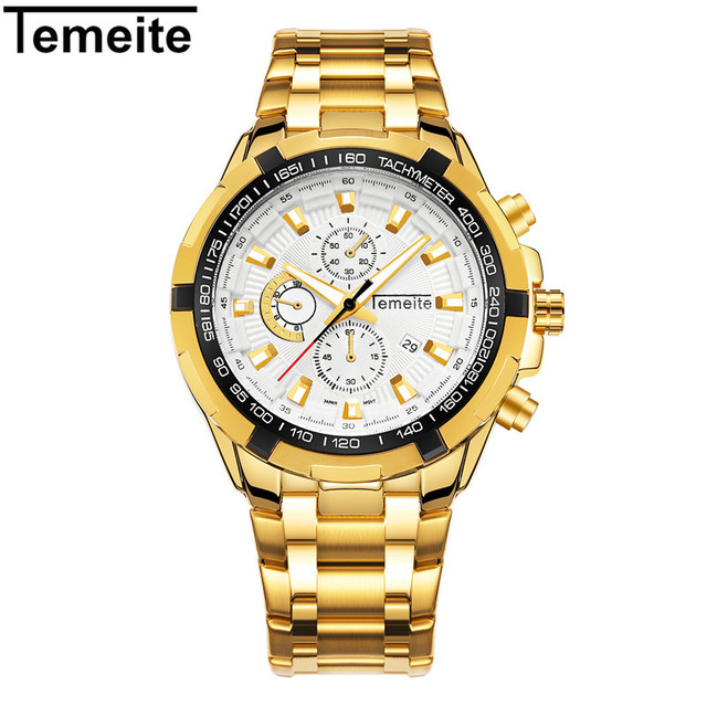 0c2c01f6332 Mens relógios de luxo de ouro 316L homem calendário luminosa à prova d  água  esportes