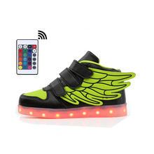 2019 Wing kids light up shoes with Remote Controller for children boy&girl luminous sneakers Glowing