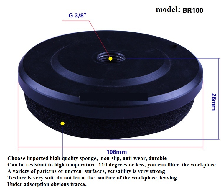 Sponge sucker  vacuum  automation brick stone veneer wood cardboard cartons sucker spreader BR50 BR100 BR150 6pcs sponge