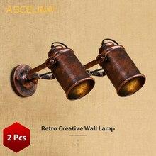 Duvar lambası eski endüstriyel duvar ışık ayarlanabilir pas işık Retro Loft ülke duvar aplik Bar Cafe ev dekorasyon 2 adet