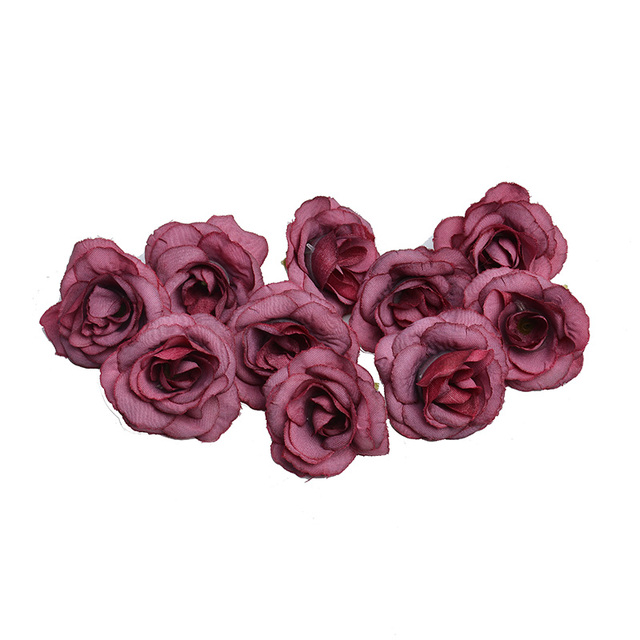 New 10pcs artificial flower 4cm silk rose flower head wedding party home decoration DIY wreath scrapbook gift box craft 2