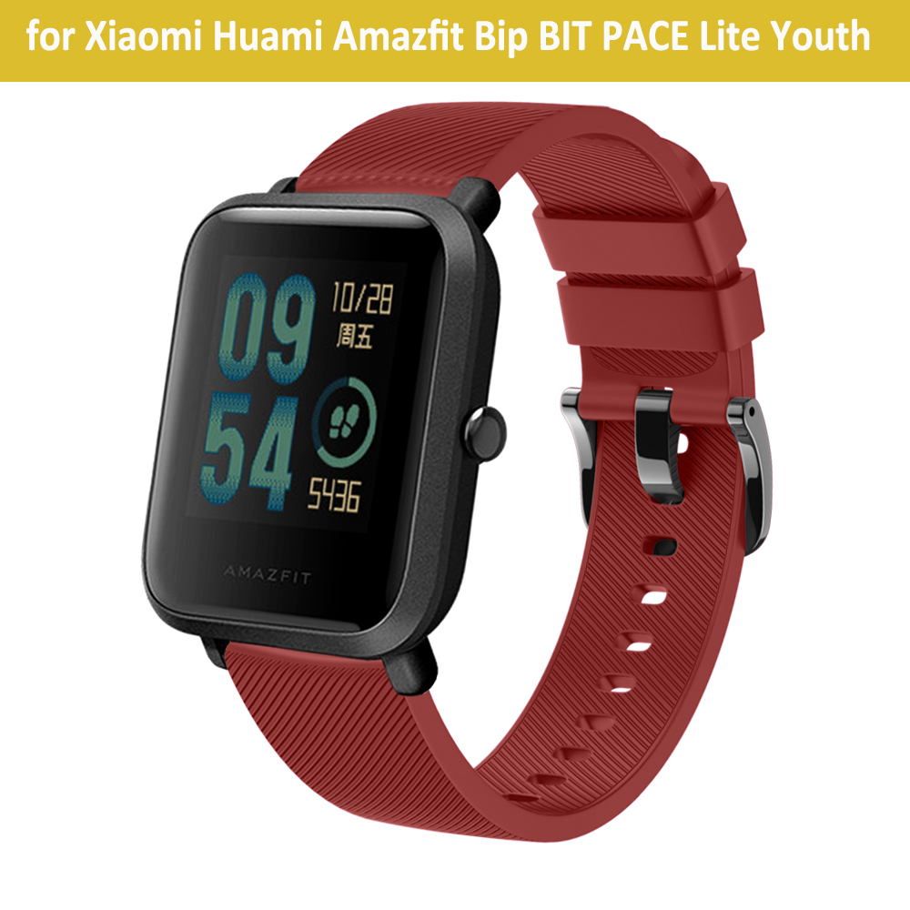 20mm Width Soft Silicone Strap for Xiaomi Huami Amazfit Bip BIT PACE Lite Youth Smart Watch Band with Metal Buckle Wristband 3in1 metal strap double color band for original xiaomi huami amazfit bip bit pace lite youth smart watch screen protector film