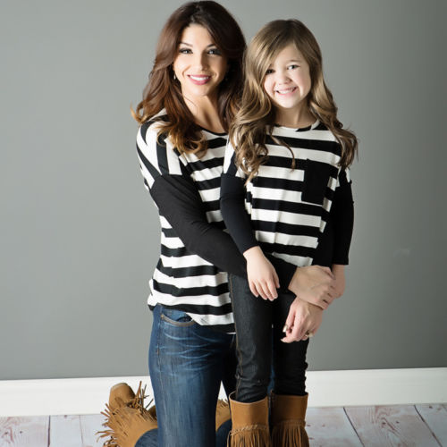 Striped font b Mother b font font b b font Daughter Long Sleeve Tops T shirt