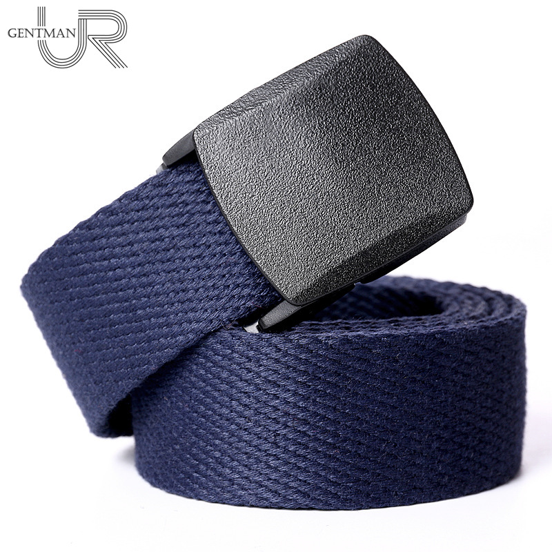 Unisex Canvas   Belt   3.8cm Width Adjustable Tactical Waist   Belt   Outdoor Sports Cotton Military   Belt   Men Women Plastic Buckle   Belts