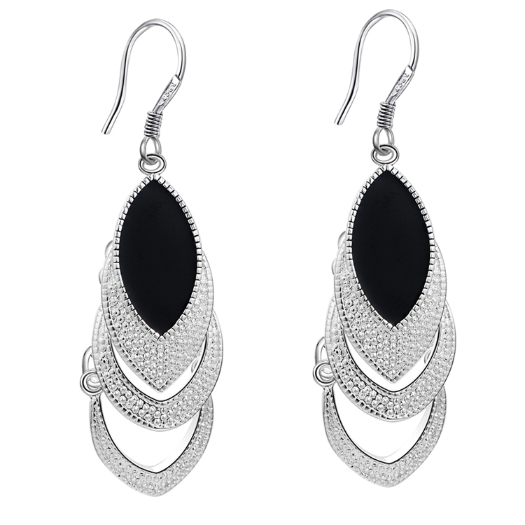 Silver Plated 925 jewelry Earrings For Women Wholesale Free Shipping Christmas Gifts Fashion Jewelry Black Crystal