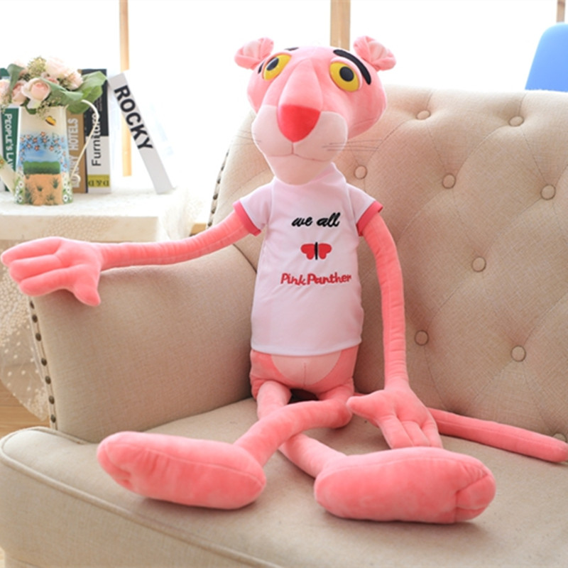1pc 55cm Super Cute Shin Leopard Pink Panther T-shirt Plush Toy Stuffed Animal Doll Birthday Gift for Kids Love Present