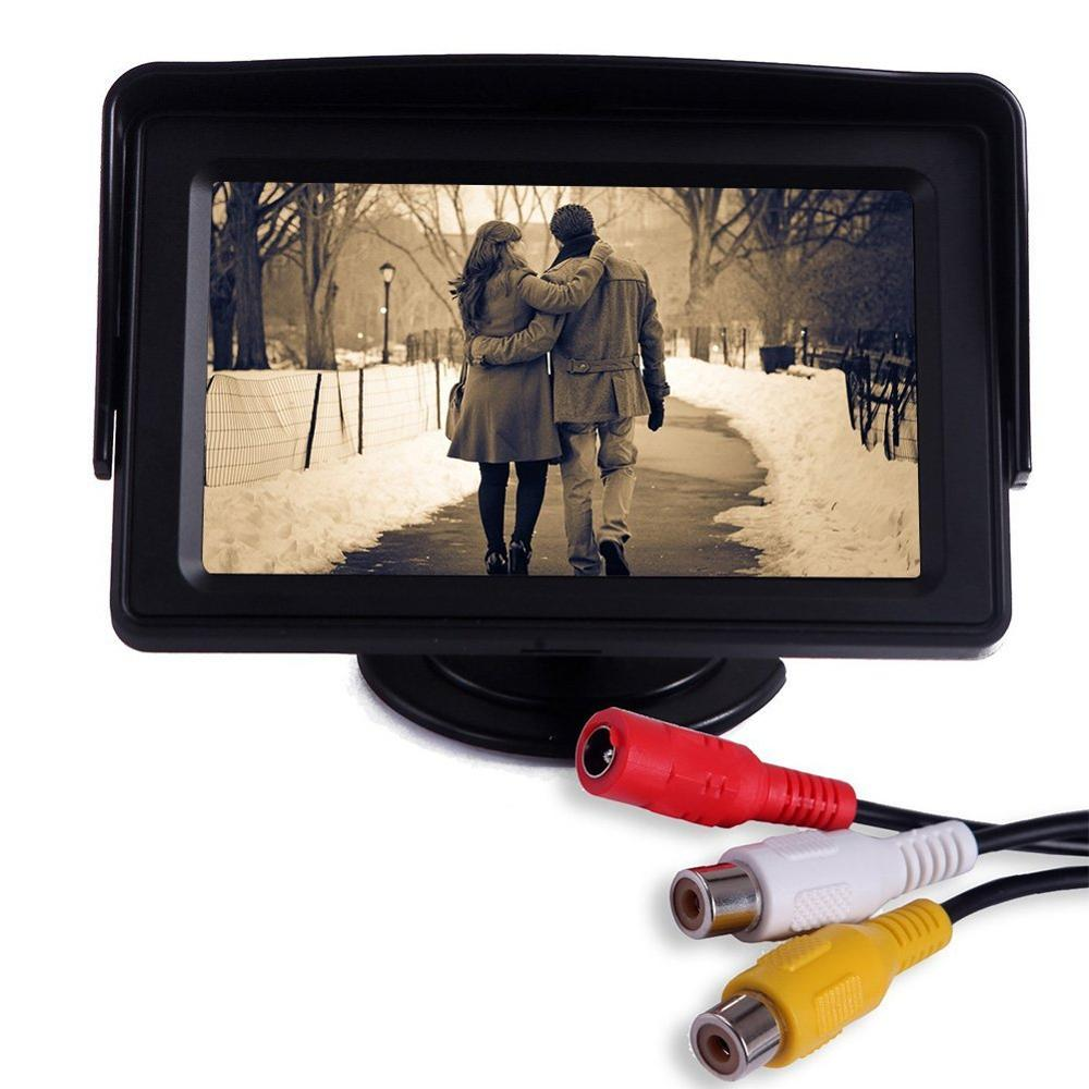 4.3 car-detector TFT LCD auto Car Rear View Parking Monitor Screen Rearview Backup Monitors 2 Video Input for Reverse Camera