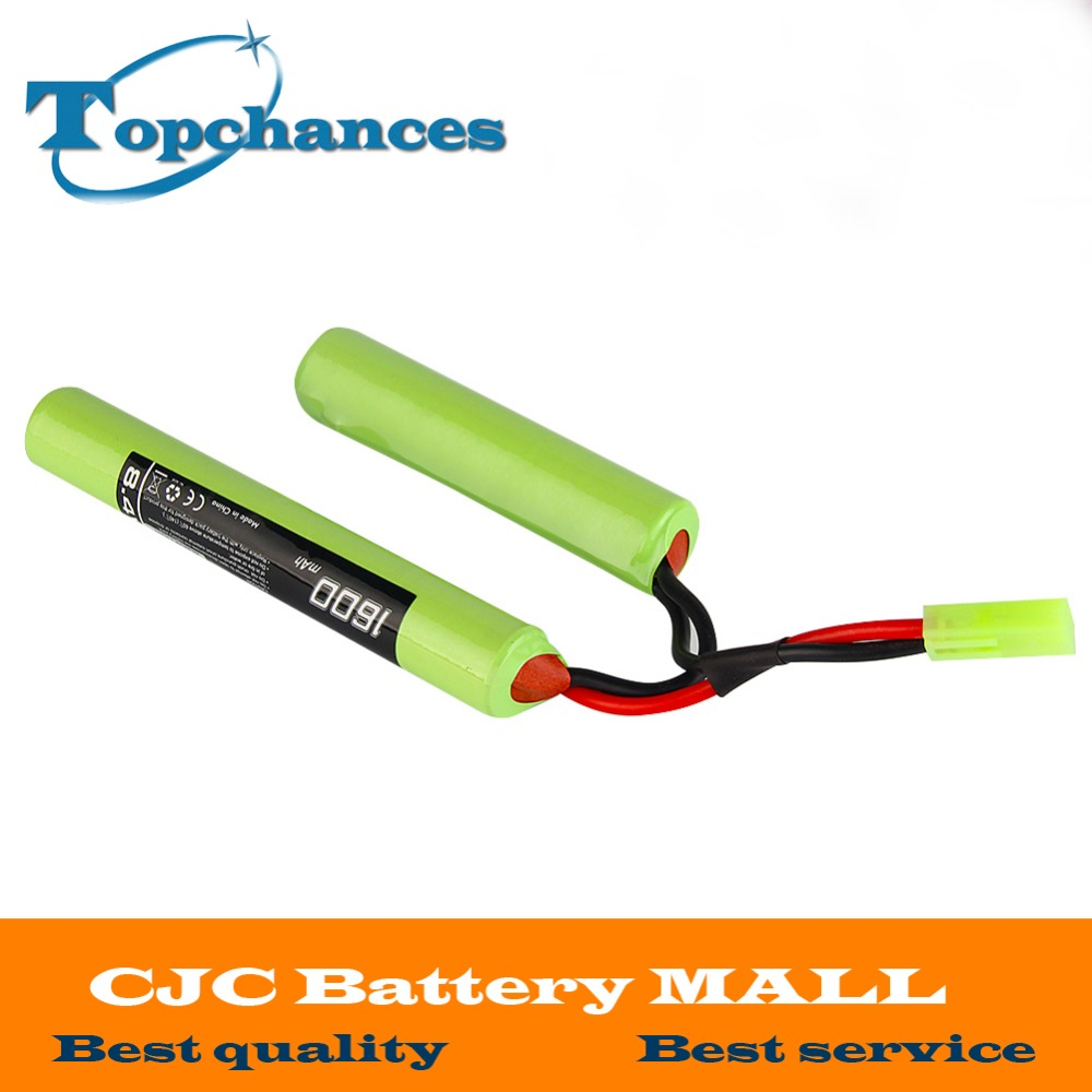 2/3A 8.4v 1600mAh Butterfly NunChuck NIMH Battery Pack with Mini Tamiya Connector for Mini AK Series Airsoft AEG Guns image
