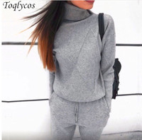 Autumn winter Knitted tracksuit Turtleneck sweatshirts Casual Suit Women clothing 2 Piece set Knit pant Sporting suit Female 254