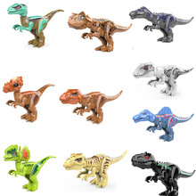 Jurassic Dinosaur Park block mega Indominus Tyrannosaurus Rex Carnotaurus Baryonyx Velociraptor Spinosaurus model toy with sound remote control tyrannosaurus velociraptor giganotosaurus rugops rc walking dinosaur toy with shaking head light sounds