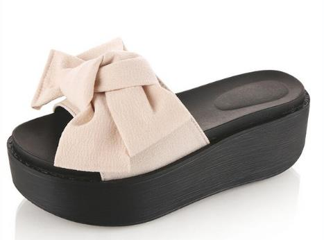 Woman Beach Flip Flops Big Bowtie Summer Sandals Slip- Resistant Slippers Platform Sandals Size 34-39 2017 Fashion Size 35-39 yeerfa summer flip flops 2017 beach wedges sandals slip on flats casual creepers platform shoes woman sweet slippers size 35 40