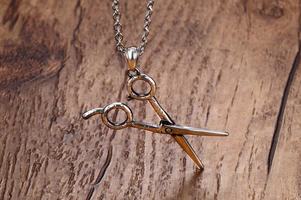 Fashion Jewelry Men or Women Barber Hair Dresser Scissors Shears Stainless Steel Pendant Necklaces Unisex Silver 12